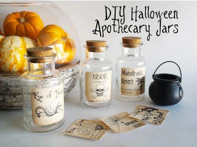 Holiday DIY – DIY Halloween Apothecary Jars (free printable)