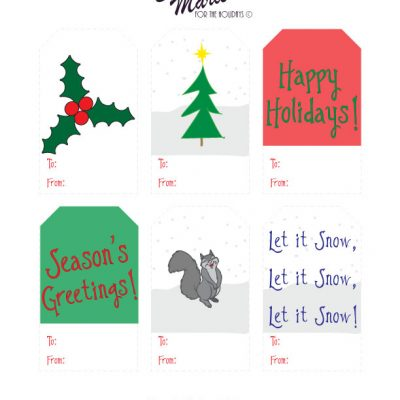Happy Holidays!  Free Gift Tag Printable