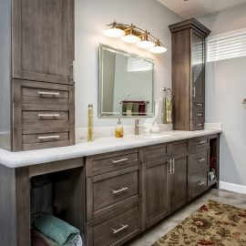Master Bath Remodel – Studio Em Interiors – Lakeside Rebuild – The master bath has a large vanity space with plenty of storage for everything my clients need in the space. Again, we kept with the neutral greys and brushed nickel finishes.